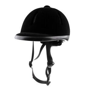 Kids-Child-Adjustable-Horse-Riding-Hat-Ventilated-Safety-Velvet-Helmet-Black