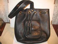 Vintage Dooney & Bourke Pebbled Leather Drawstring Sling Bag- Black