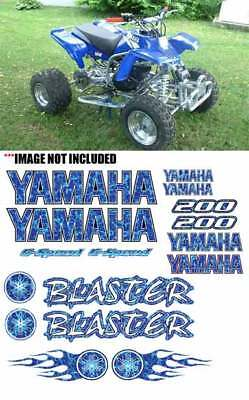 Yamaha BLASTER WHITE//SILVER Airbrush Look ATV Quad Stickers 16pc Decals Graphics
