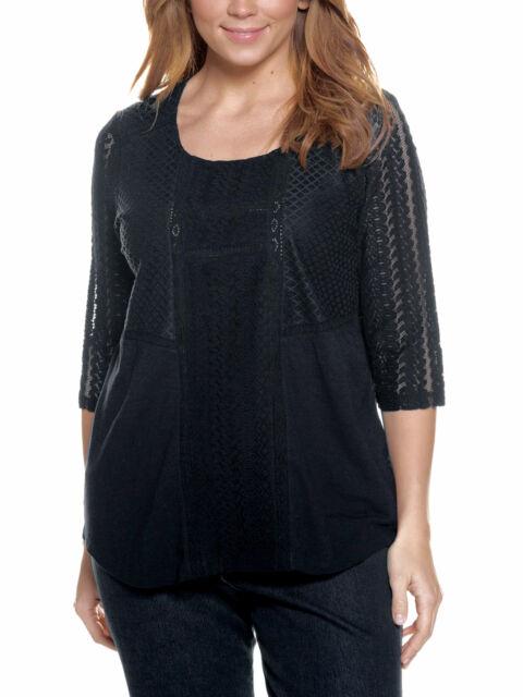 herren super günstig im vergleich zu weltweit verkauft Ulla Popken Plus 20-34 Black Cotton Modal Knit Endless Lace Details Top  Tunic