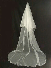 1T Romantic Long Scalloped Edge Bridal Wedding Veil in IVORY  no Comb