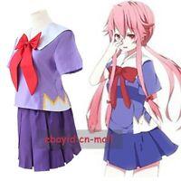 New Future Diary Gasai Yuno Mirai nikki Uniform Cosplay Costume Custom Made