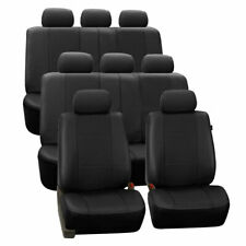 3 Row Car Seat Covers Leather 8 Seater SUV VAN Set Beige