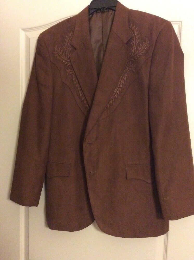 Braun Western Style Sport Coat 44R Suede Feel And EmbroideROT Design Circle S