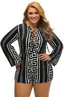 New Ladies Monchrome Print Black Deep V Lace-up Long Sleeve Play suit Size 12-14