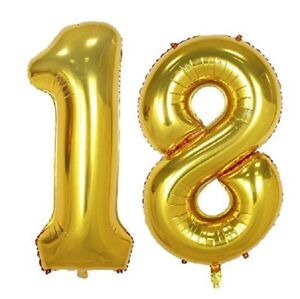 Image Is Loading 16 034 18 Gold Number Balloons 18th Birthday