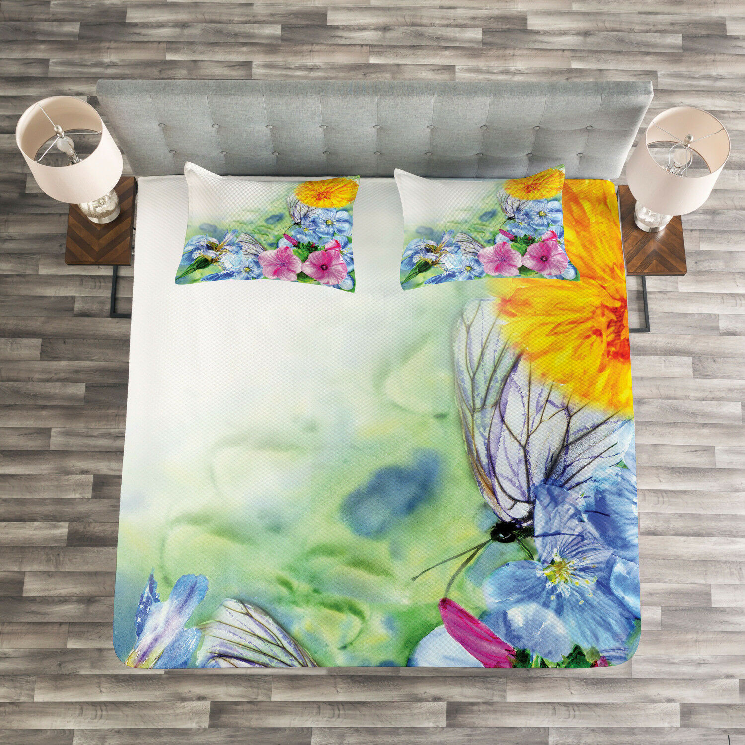 Floral Quilted Bedspread & Pillow Shams Set, Spring Blossom Print