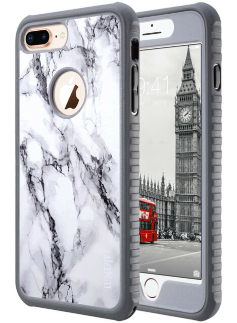 promo code 17796 3ce26 Ulak Marble for iPhone 8 Plus 7 Plus Case Heavy Duty Shockproof TPU Bumper  Cover
