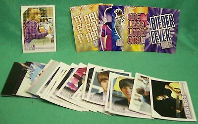 2010 Justin Beiber t/c singles, stickers and htf insert card