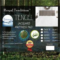 Waterproof Mattress Pad, Lyocell Eucalyptus Tencel Jacquard Up To 15 Inch Topper