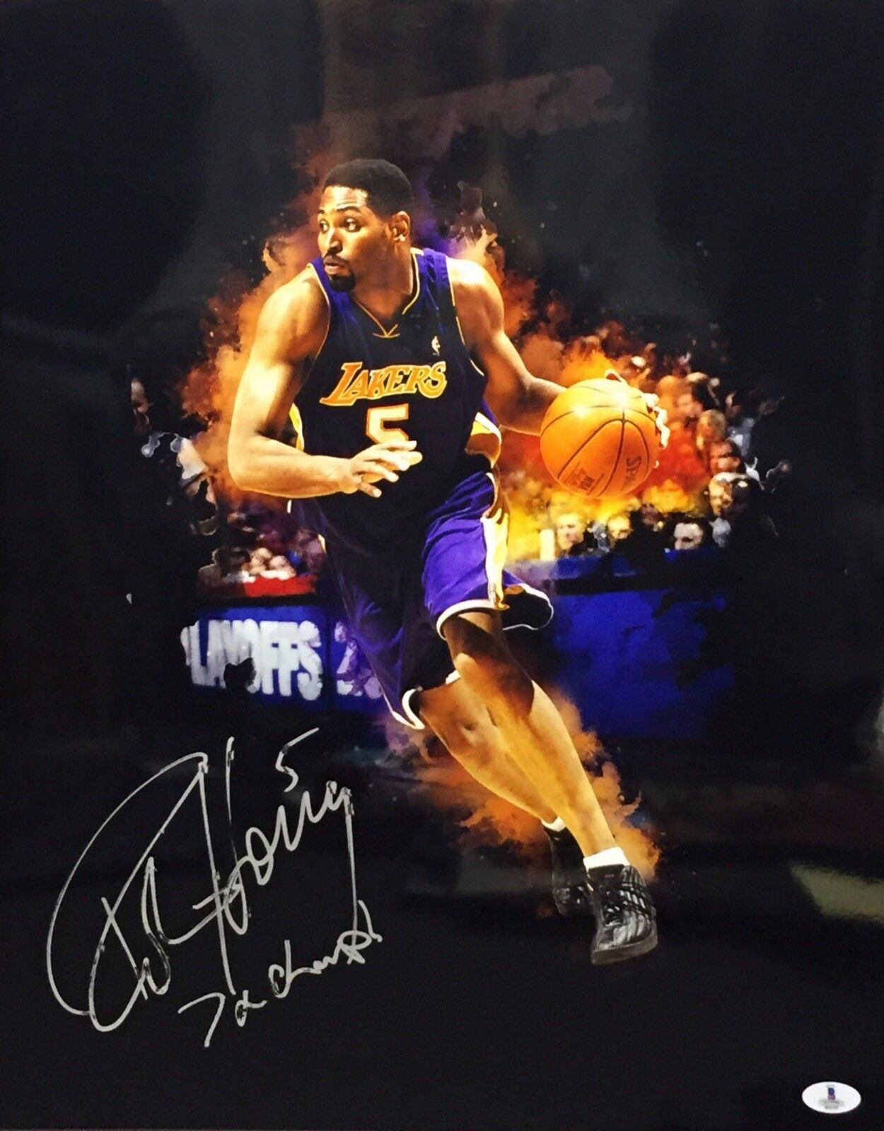 Robert Horry Signed Lakers Metallic/Chrome 16x20 Photo *7x Champ Beckett