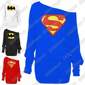 New-Ladies-Off-Shoulder-Superman-Batman-Print-Baggy-Loose-Fit-Slouch-Batwing-Top