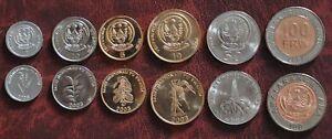 1-100 francs 2003-2011 XF-UNC Rwanda set of 6 coins
