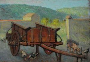 Giovanni-Malesci-Cortile-e-carro-colonico-olio-su-tavola-36-5x25-5-cm-1925