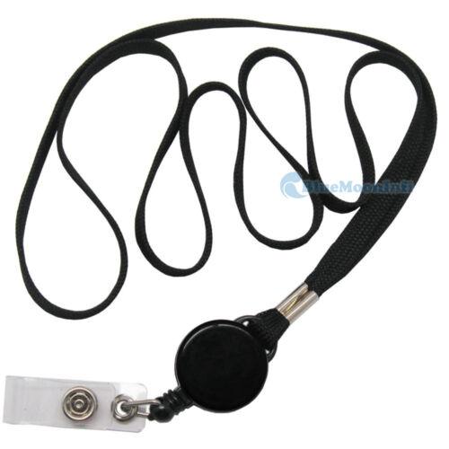Retractable ID Card Holder badge reel combo lanyard Black CSA075 1 2 5 10 pcs B