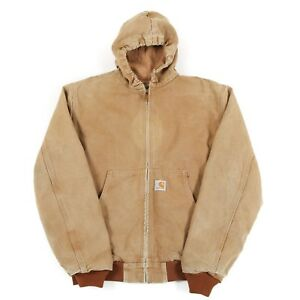 CARHARTT-Hooded-Chore-Jacket-Men-039-s-S-Coat-Canvas-Hoodie-Hood-Work-Vintage