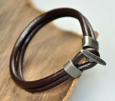 Men's Cool Double 4mm Leather Wrap Charm Bracelet Wristband Cool Clasp Brown