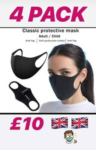 4 X Washable Face Mask Fabric Reusable Uk Seller Free Postage Ebay