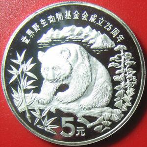 1986-CHINA-5-YUAN-SILVER-PROOF-GIANT-PANDA-BAMBOO-SUPERB-CAMEO-WWF-WILDLIFE-FUND
