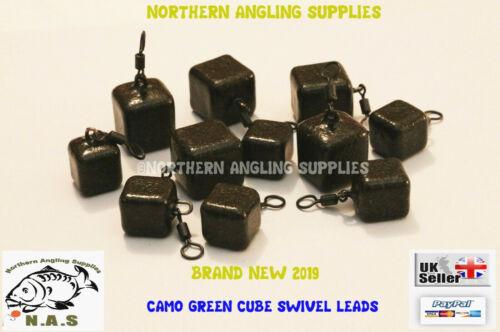 3 ou 5 Dinsmore Pivotant Carré Cube 2 oz environ 56.70 g potentiels Pour La Carpe Rod fishing Leads Poids