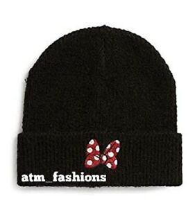 Ladies Primark Disney Minnie Mouse Bow Beanie Hat Winter Bow Brand New