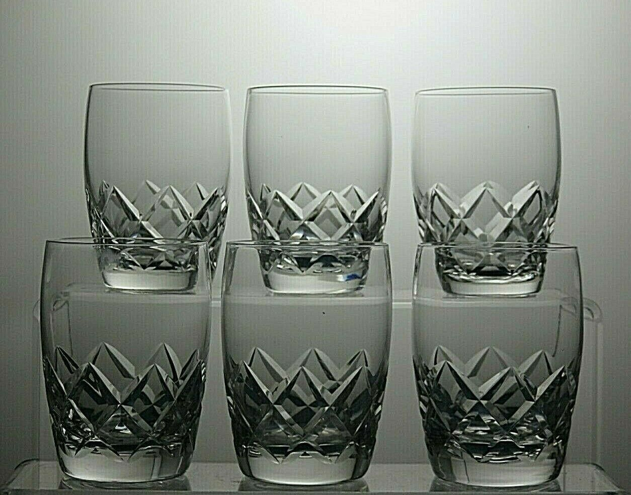 Stuart Crystal  beau  Cut Baril gobelets verres Set de 6 - 3 1 3  Tall