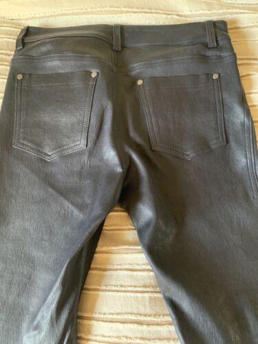 Alice And Olivia Navy Leather Pants Sz 6 Lambs Lea