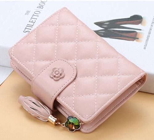 Fashion Women RFID Blocking Leather Wallet Trifold Zipper Card Holder Mini Purse