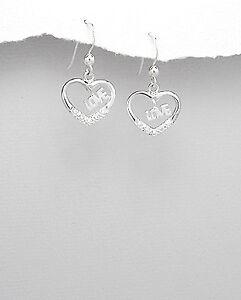 Elegant-cubic-zirconia-earrings-with-message-034-love-034-Womens-jewellery