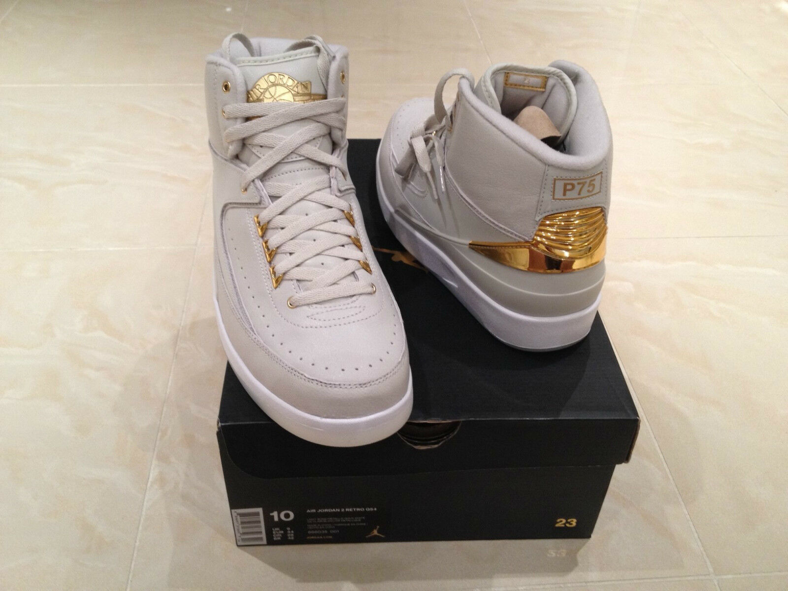 2018 NIKE AIR JORDAN 2 RETRO Q54 QUAI 54 blanc GOLD ALL SIZES6 7 8 9 10 11