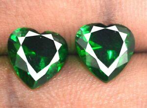 Heart Shape 5.45 Ct Natural Colombian Emerald Gemstone Pair AGI Certified CI26