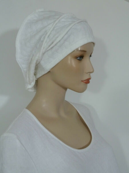 a307e701d43 Whitebagheera fearlessly stylish cream quilted cloque jersey slouchy beanie  hat
