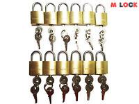 Lot Of 12 Small Brass Padlock (20mm) Mini Tiny Lock Box Jewelry Drawer Key Alike