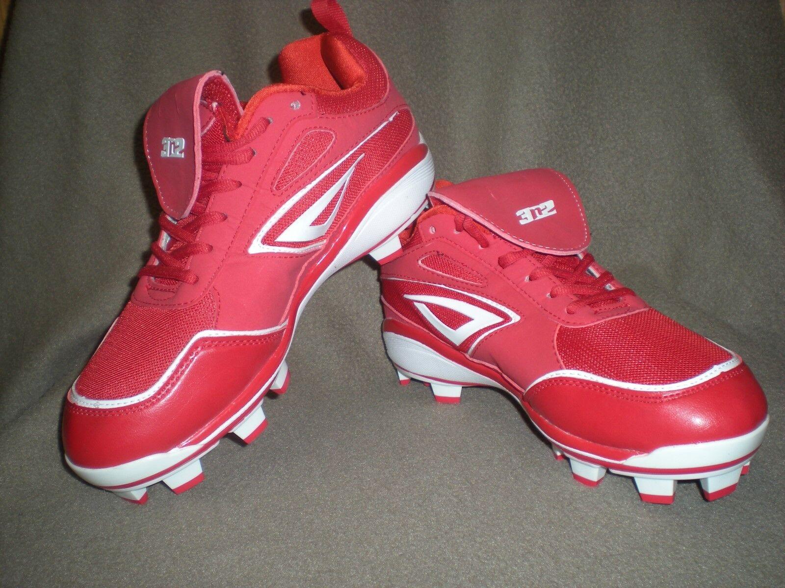 3N2 Red Rally PM TPU Baseball Softball Cleats Red Size 7