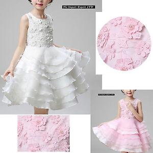 Vestito-Bambina-Abito-Cerimonia-Fiori-Elegante-Girl-Party-Princess-Dress-CDR060