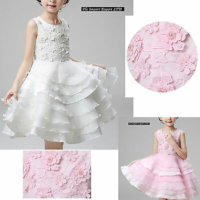 Vestito Bambina Abito Cerimonia Fiori Elegante Girl Party Princess Dress CDR060