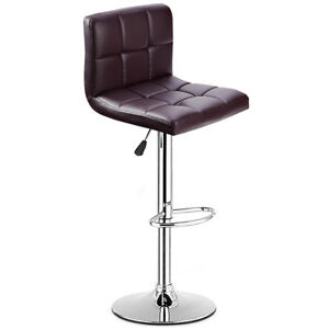 1 PC Bar Stool Swivel Adjustable PU Leather Barstools Bistro Pub Chair Brown New