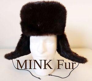 Ushanka Russian MINK fur hat army solviet Military Cossack 54 6.75 ... 6e95104d06a9