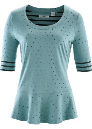 Damen Halbarmshirt mit Schößchen in mineralblau gepunktet Größe 36//38 NEU