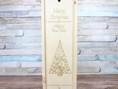 Modesto Vino Di Natale In Legno Personalizzato Regalo Qualsiasi Messaggio Doppio 2 Bottiglie-mostra Il Titolo Originale