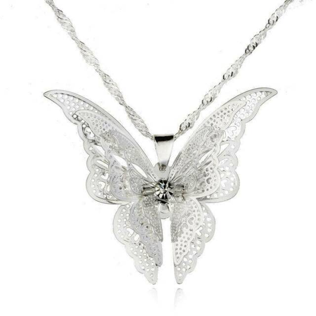 1PC Fashion Women Silver Plated Jewelry Openwork Butterfly Necklace Pendant Gift