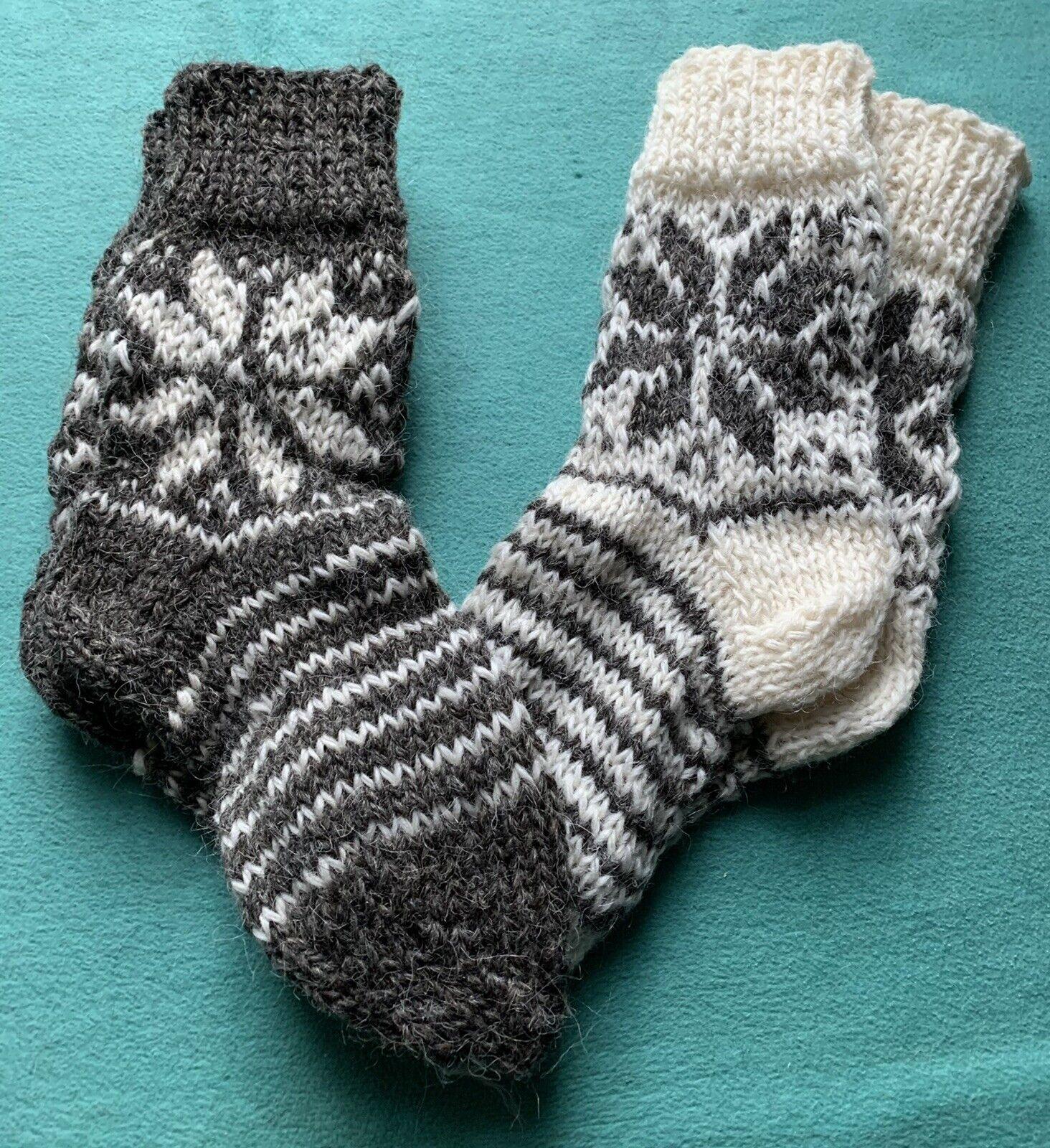 Schafwollsocken Schafwolle reine Wolle, Socken von Hand gestrickt Gr. 36 - 40