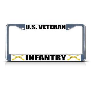 INFANTRY U.S VETERAN Military Metal Motorcycle License Plate Frame Tag