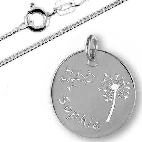 Gravur und Kette Inkl Anhänger Gravurplatte mit Pusteblume-Silber925