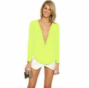 Ladies-Sexy-Women-039-s-Deep-V-Loose-Long-Sleeve-Chiffon-Casual-T-Shirt-Tops-Blouse