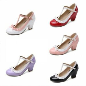 Details about  /Sweet Women Mary Jane Lolita Cosplay Round Toe Ankle Strap Bowknot Shoes 34//48 D