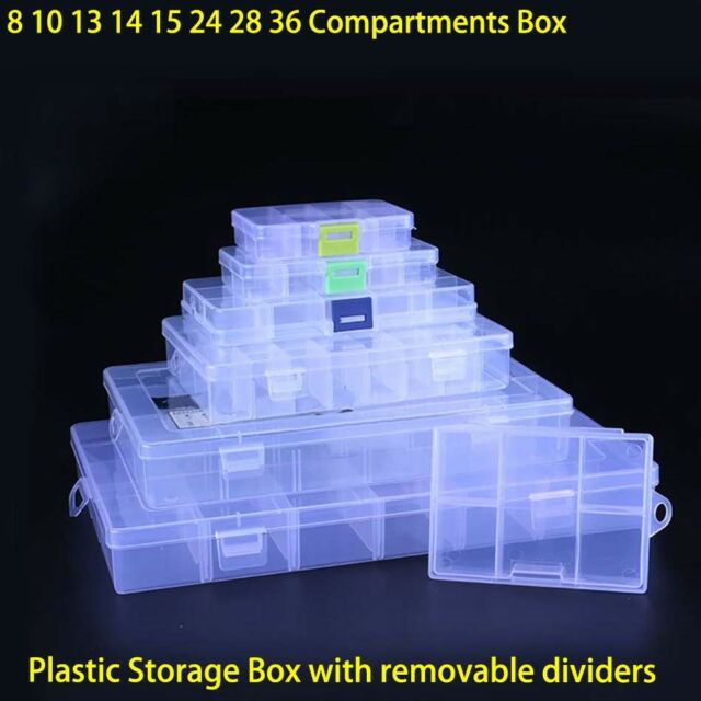 Clear Plastic Storage Box Case Home Organizer Craft Jewelry Beads Tool Boxes