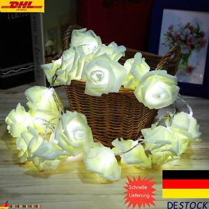 20er Led Lichterkette Rosen Blumen Bluten Deko Lichter Tischdeko