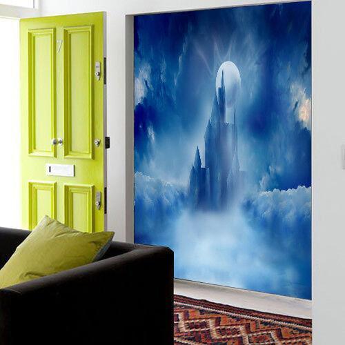 3D Nebeliger Mond Schloss 97 Tapete Wandgemälde Tapete Tapeten Bild Familie DE