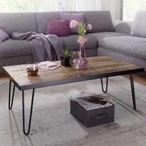 Details Sur Finebuy Table Basse Bois Massif Metal 110x40x60cm Table D Appoint Table De Salon
